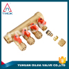 brass ball 3/4 inch exhaust flow water pex pipe manifold for underfloor heating ISO CE PTFE seated forged 4 way manifold