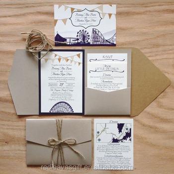 wedding stationary pocket fold wedding invitations cards in retail