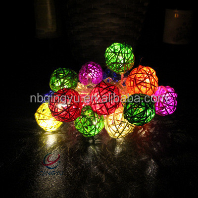 Led Christmas Holiday Outdoor String Lights Bamboo Material Globe Decorative Light 7 2 Ft With 20lights For Party Wedding