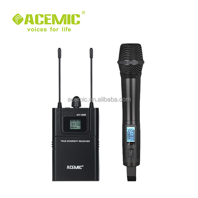 Professional UHF wireless camera microphone system for video recording and interview DV-100H