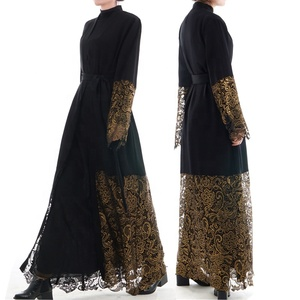 elegant EID collection golden lace decorated black abaya muslim kimono nida long dress with belt