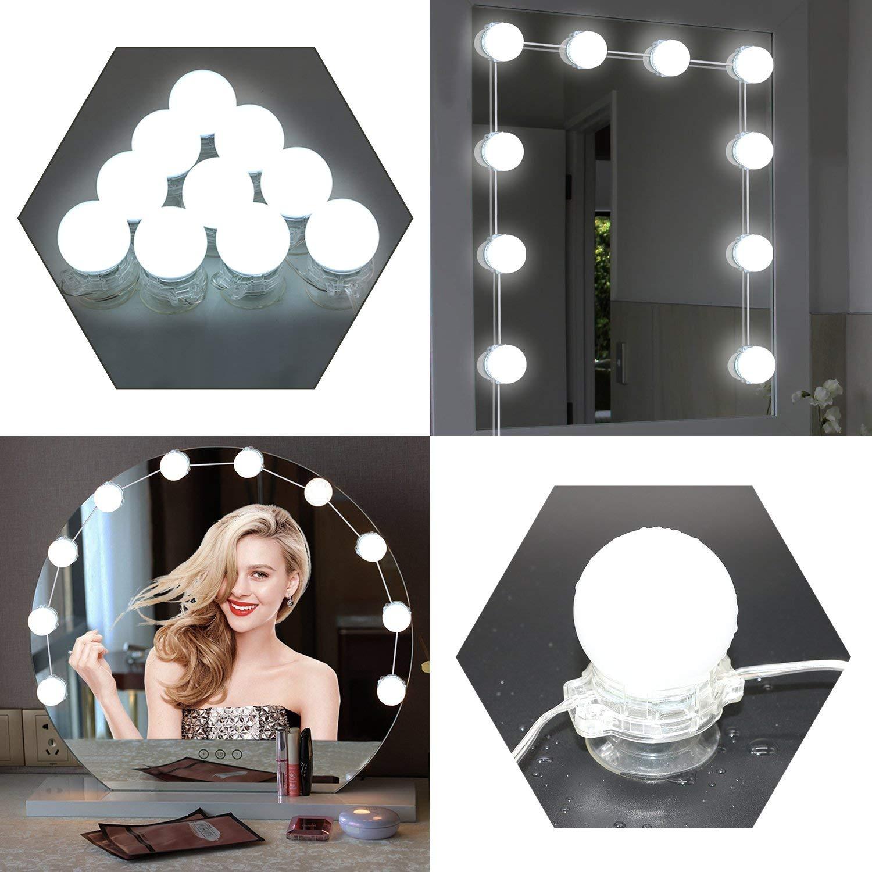 Vanity Mirror Lights LED 6500K Waterproof Makeup Mirror Lights Blubs Kits Dimmable 3Watt Lighting Fixture Strip for Dressing Table Vanity Set Mirrors in Dressing Room Bathroom (White 1)