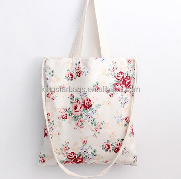 eco-friendly floral printing trendy cotton shopping bag