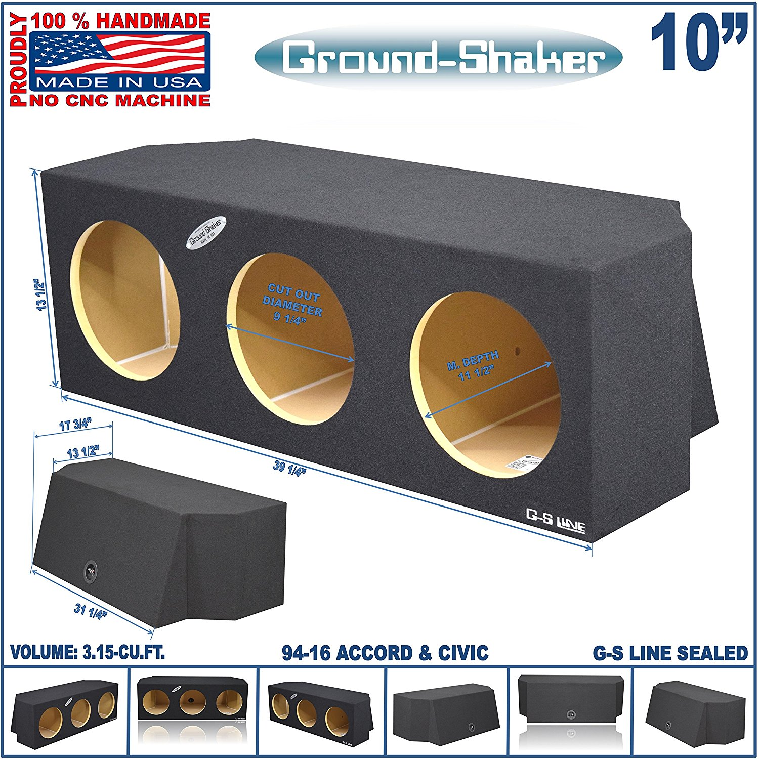 "Get Quotations · 94-16 Triple Honda Accord & Honda Civic Sealed 10"" Triple  Sub Box MDF"