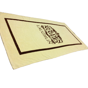 organic cotton beach towel printed velour/cut pile with silk screen printed label