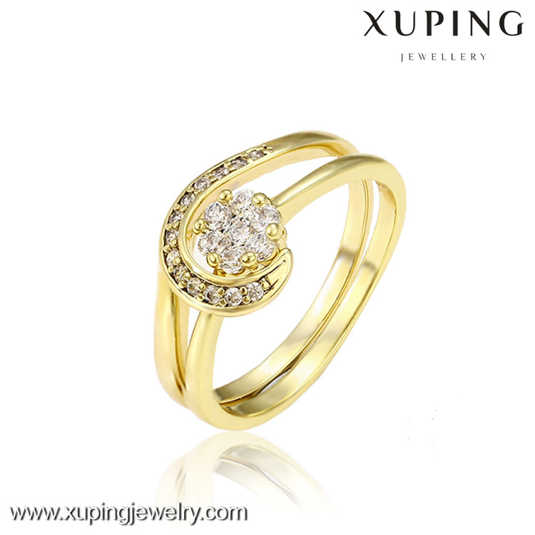 13004 Xuping jewelry 14k gold color plated fashion charm glass rings style gift party jewelry for girl women big promotion