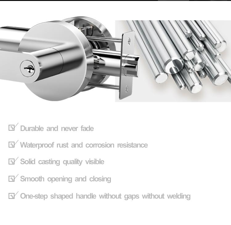 SUS304 Stainless Steel Casting Handle Door Levers Lock interior door handles with locks doorset hardware