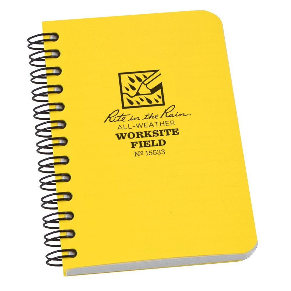 "Rite in the Rain All-Weather Worksite Side-Spiral Notebook, 3 1/2"" x 5"" Yellow Cover, Worksite Field Pattern (No. 15533)"