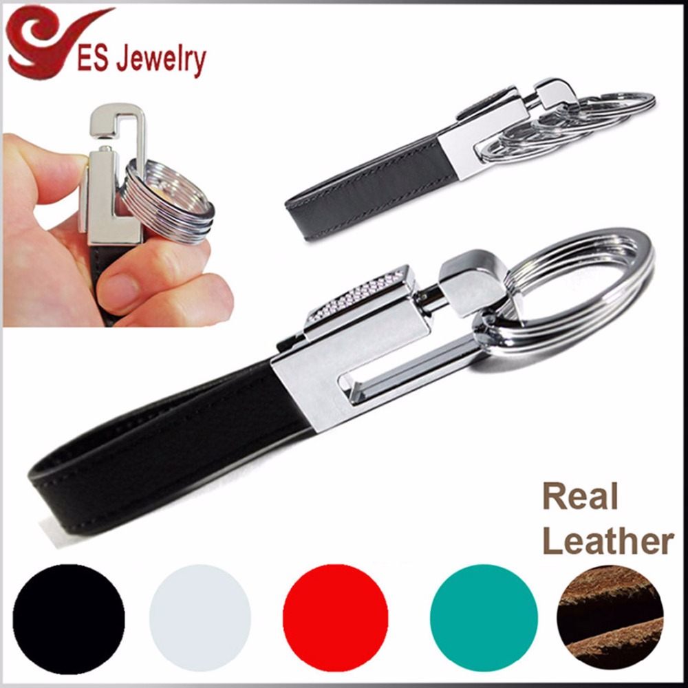custom pull apart keychain genuine leather fur key chain with 4 rings multi-functional