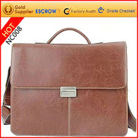2012 luxurious design mens laptop satchel bags made of real leather