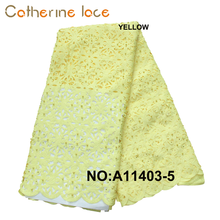 Catherine Beaded Laser Cut Embroidery Flower Tulle French Lace Fabric