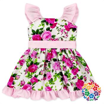 c57430b90f712 Kid Boutique Summer Pink Flower Vintage Rose Dresses Organic Cotton Vintage Fancy  Girls Dresses Wholesale