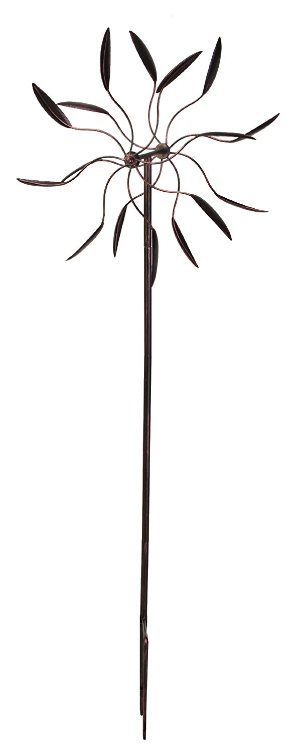 Black Base Finish 51-Inch Height Panacea 88861 Kinetic Art Windmill with Dual Multi-Color Spiral Spinner
