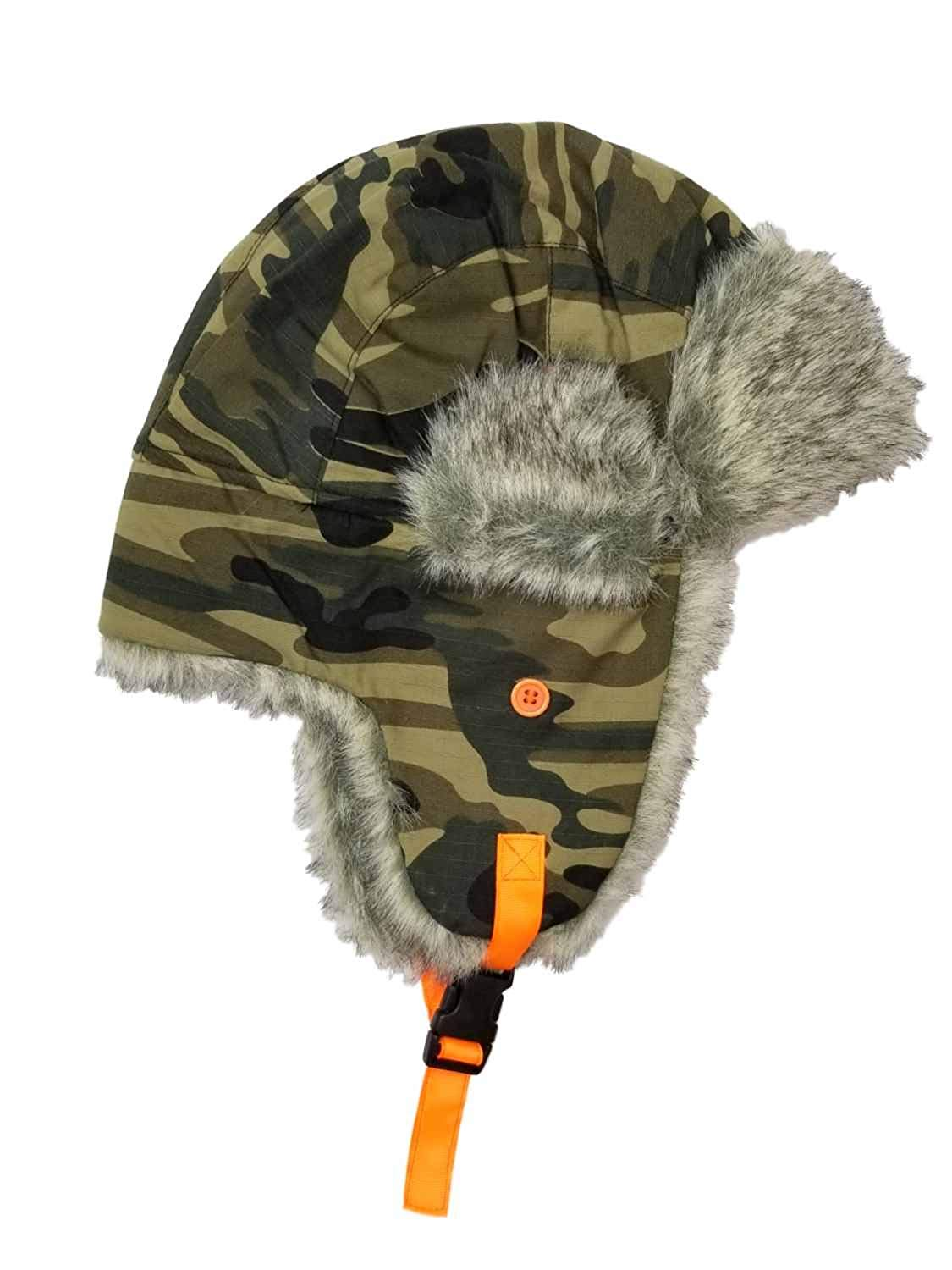 f7653356df2c01 Get Quotations · Men's Camo Camouflage with Fur Trimmed Peruvian Trapper  Beanie Stocking Cap Hat