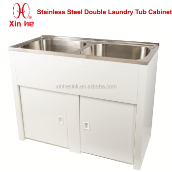 Laundry Tub With Cabinet New Australia 90l Double Bowl Stainless
