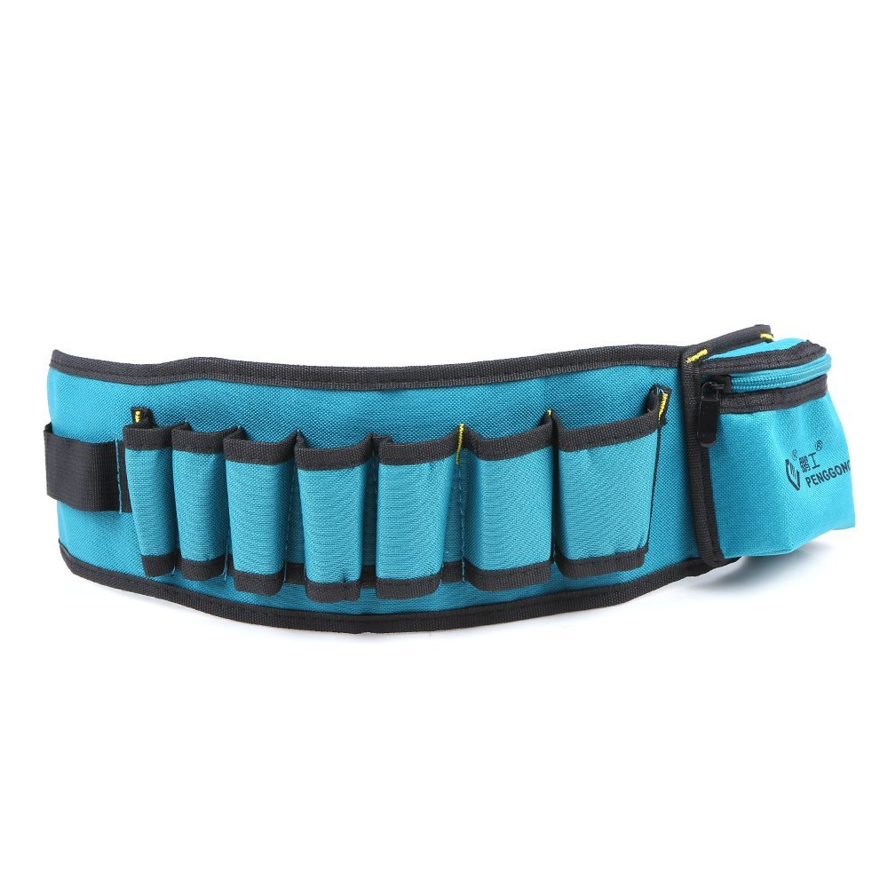KKmoon PENGGONG Multi-functional Waist Tool Bag Pockets Pouch Organizer Oxford Canvas Chisel Repairing Tool Pockets with Belt Wearable & Waterproof for Carpenter Hammer Electrician Repair Tools