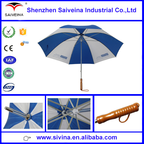 Innovative products blue and white umbrella,golf umbrella rubber tips,double ribs golf umbrella
