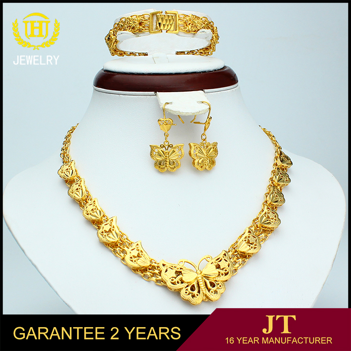 Fashion Butter Fly Design Dubai Style Set for Wedding Engagement 18k Gold Plated Jewelry Set