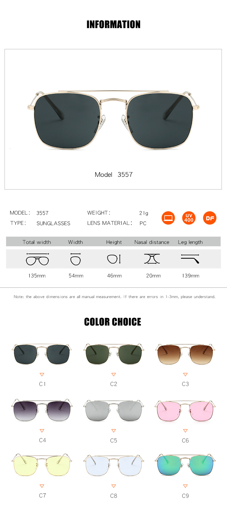 Wholesale OEM UV400 Double Bridge 2019 Private Label Brand Designer Square Frame Sunglasses For Men Women