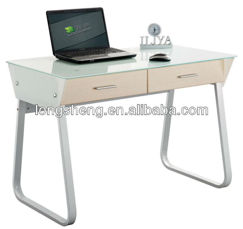 Tempered Glass Study Table With Drawers Product On