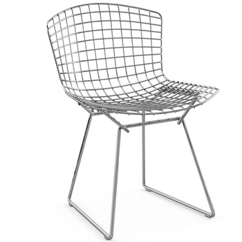 white color frame outdoor chaise fil wire chair bertoia with pu cushion - Chaise Bertoia