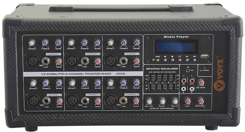 VOYZ 6 Channels Powered Mixer 1000 Watts, USB, SD, Radio Tuner, MP3 Audio Player, Equalizer Remote Control