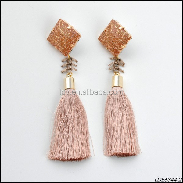 Stone Wire Gold Thread Fabric Tassels Earrings