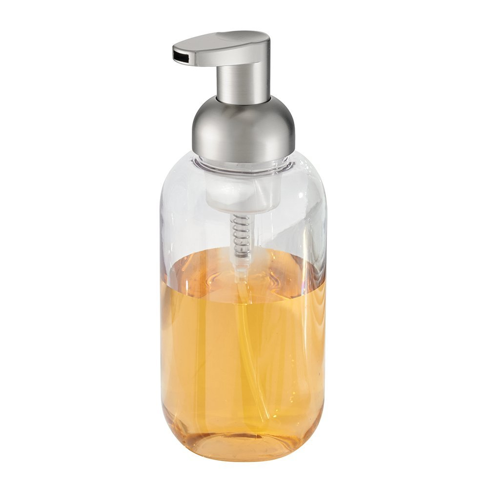 InterDesign Duo Foaming Soap Dispenser Pump For Kitchen Or Bathroom  Countertops, Clear/Brushed Nickel