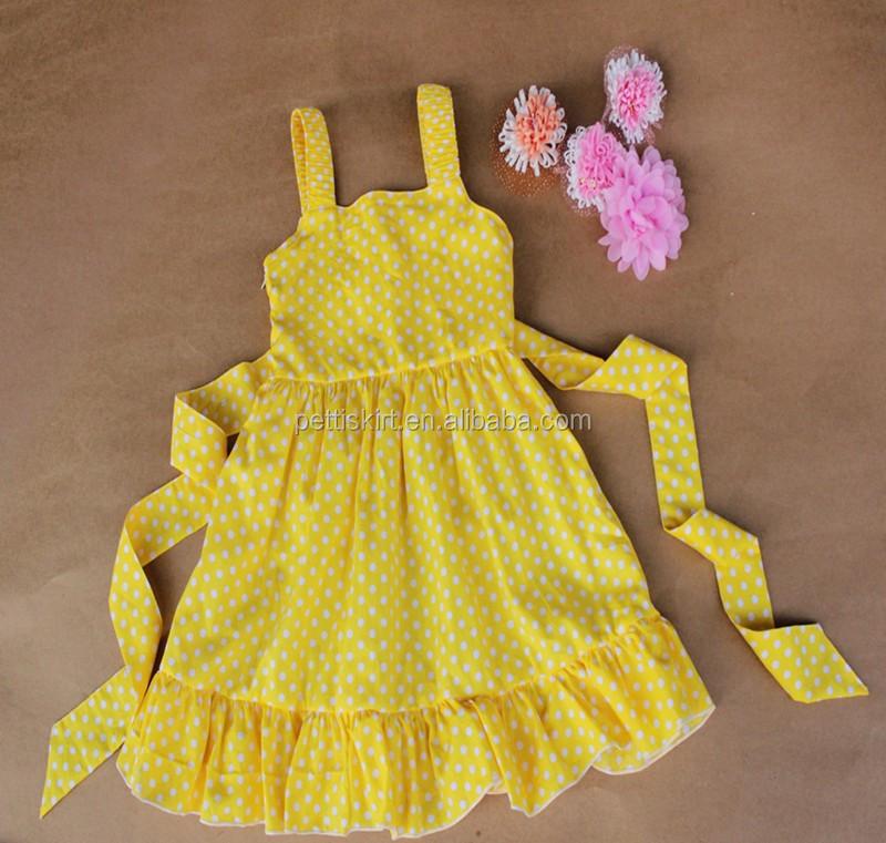 a5284f8f8 Partido del bebé de la manera verano nombres niños vestidos amarillo puntos  blancos con cinturón diseños
