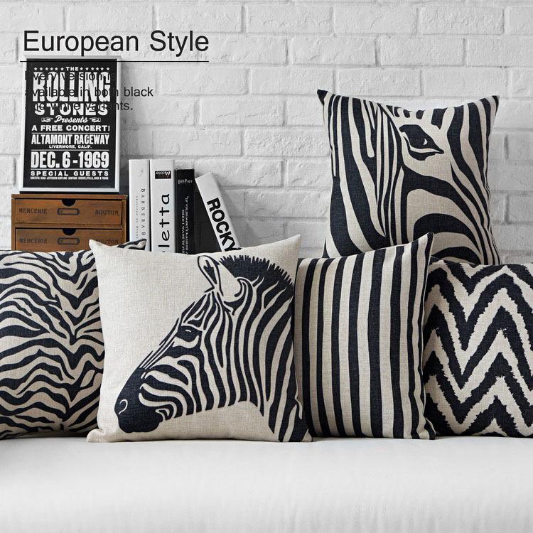 acheter moderne noir blanc z bre oreiller creative l opard coussin linge taie. Black Bedroom Furniture Sets. Home Design Ideas