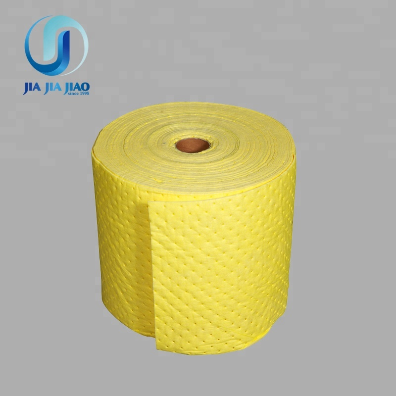 spunbonded and perforated chemical liquids absorbent rolls for spilling