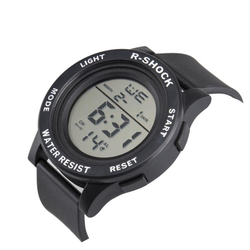 c2ee78da40df Moda impermeable de los hombres chico LCD cronómetro Digital Fecha de  deporte de goma reloj luminoso