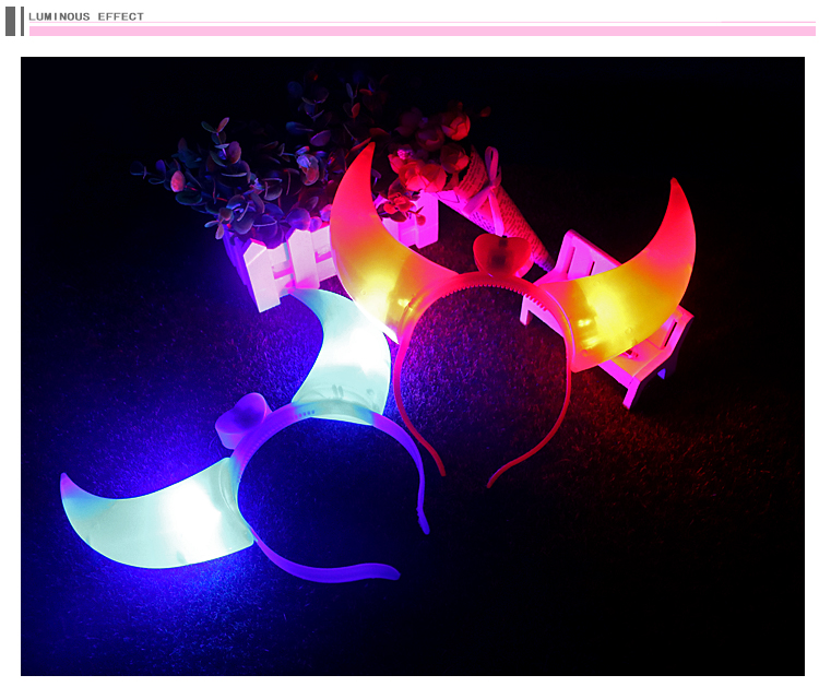 Latest design custome big size led light up glowing devil horn <strong>headband</strong>