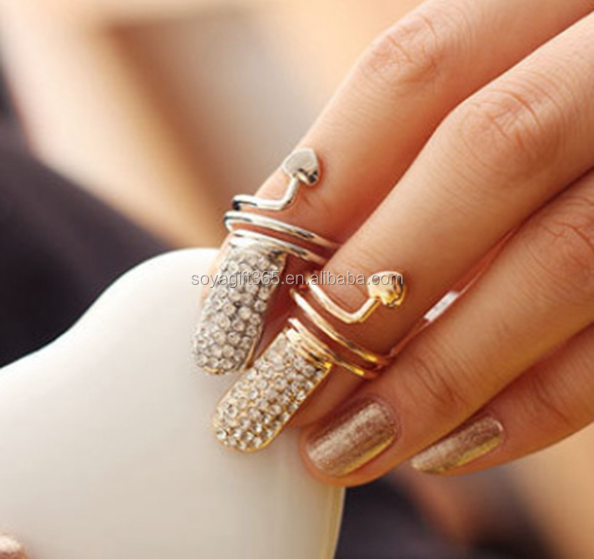 Small Heart Nail Ring Diamond Pave Finger Jewelery Sliver Gold ...