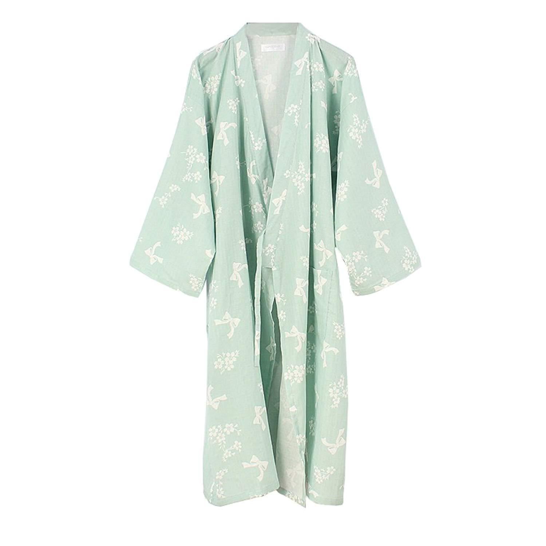 5369d650d0994 Get Quotations · FANCY PUMPKIN Women's Kimono Robe Yukata Bathrobe Pajamas  Green Butterfly