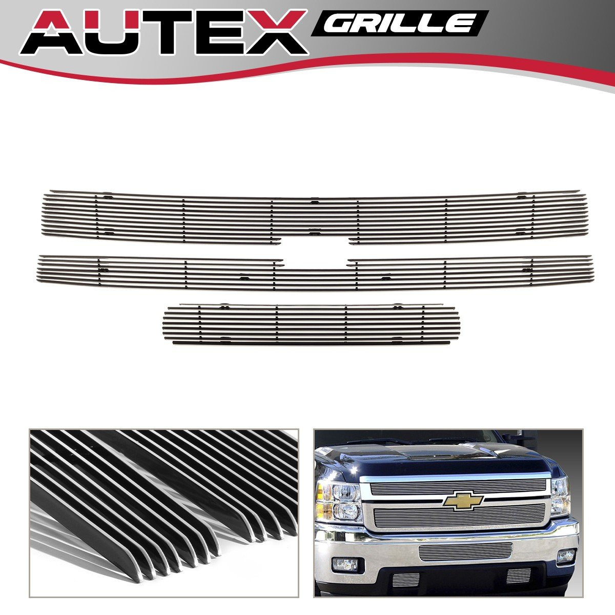 AUTEX for 2011 2012 2013 2014 Chevy Silverado 2500 HD/3500 HD Billet Grille Insert Combo C61031A Upper+Bumper Grill Chrome Aluminum