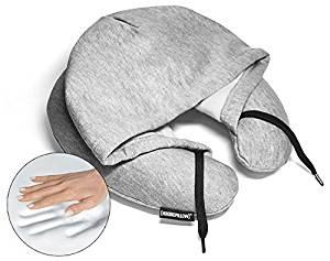 HoodiePillow Brand Memory Foam Hooded Travel Pillow - Gray
