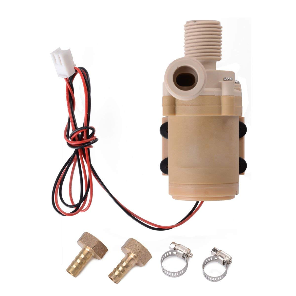 XCSOURCE Solar DC 12V Hot Water Circulation Pump Brushless Motor Water Pump + 2 x Copper fittings(10mm outer diameter) +2 x Stainless steel clamps 3M New TE089