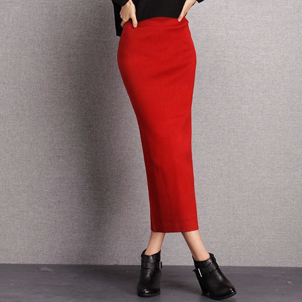 High Quality Knit Stretchy Red Korean Style High-waisted Long ...