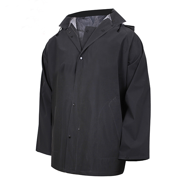 Cheap Men Rainwear  Wholesale New Rip-Stop Waterproof Rain Jacket Outdoor Black Lapel Raincoat