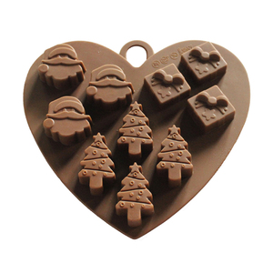 Hot Selling Christmas Style Eco-friendly Non-stick Silicone Heart Chocolate Mold