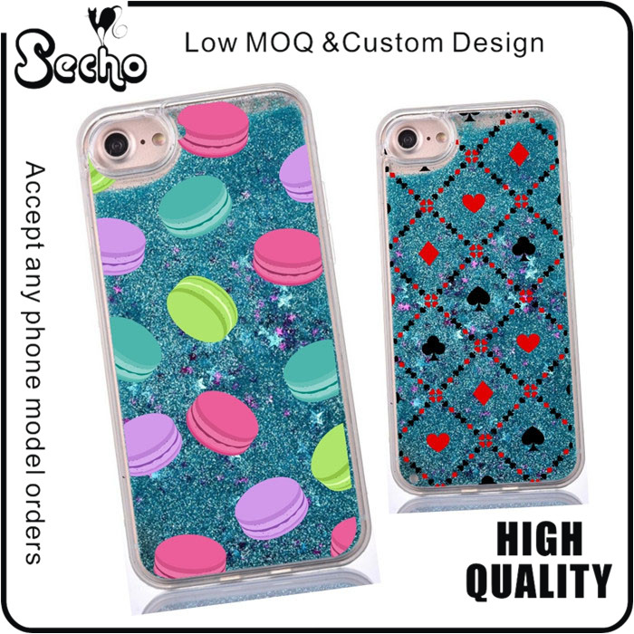Macaron Pattern Phone Case For Sony Xperia XA Back Cover Case With Fluid Liquid