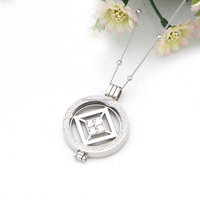 Best price replaceable shiny hollow polygon white crystals necklace jewelries with bead clasp chain for women gift