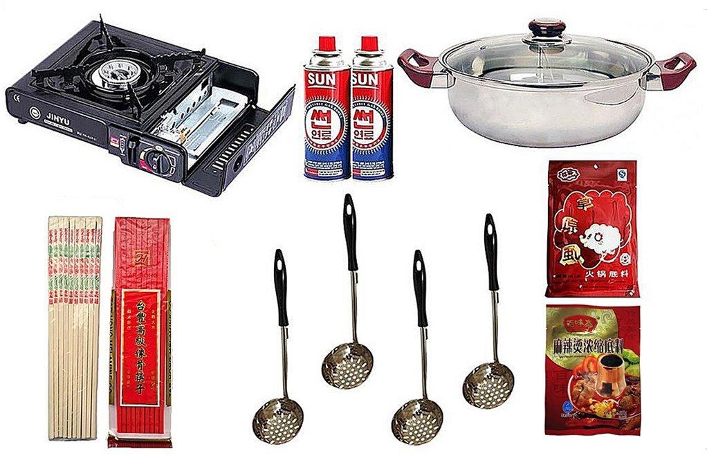 Outdoor Asian Hot Pot Starter Kit - Asian Hot Pot Starter Kit for Asian Hot Pot, Mongolian Hot Pot, Japanese Shabu-Shabu. Includes Outdoor Butane Burner, Divided Pot, Strainers, Chopsticks & Seasoning Packets.