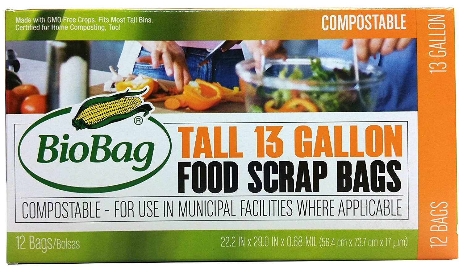 BioBag, The Original Compostable Bag, Kitchen Food Scrap Bags, ASTMD6400 Certified 100% Compostable Bags, Biodegradable Products Institute & VINCOTTE OK HOME Certified, Non GMO, 13 Gallon, 144 Count