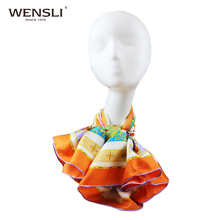 WENSLI 2017 Square Twill Silk Soft Scarf Women Hijab