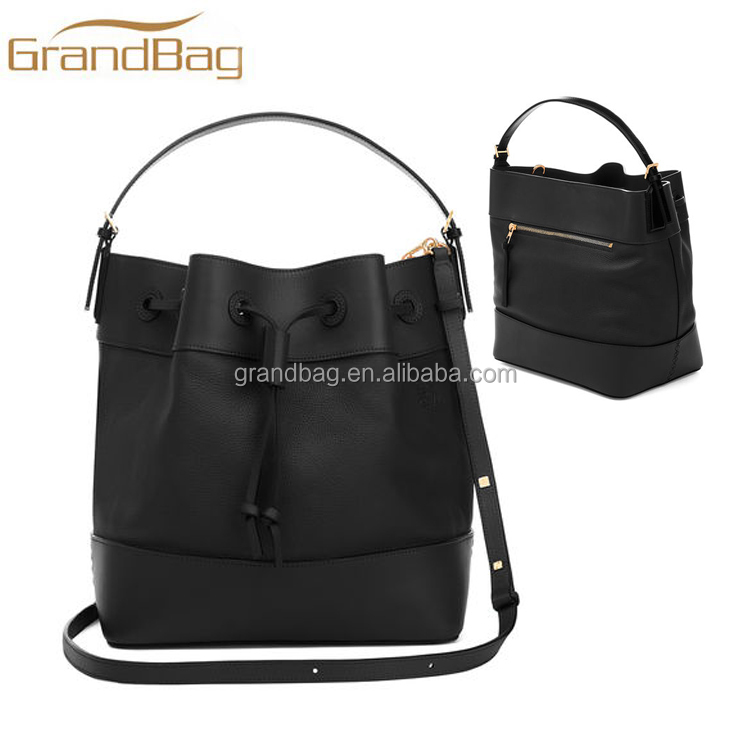 soft smooth nappa leather woman bucket handbag cross side shoulder bag with top handle