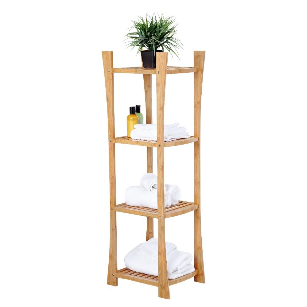 bamboo shelf unit bathroom towel shelf 2
