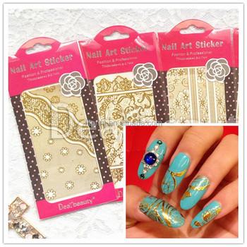 Gold Lace Nail Sticker Dearbeauty Fashion Design Nail Art Nail Art