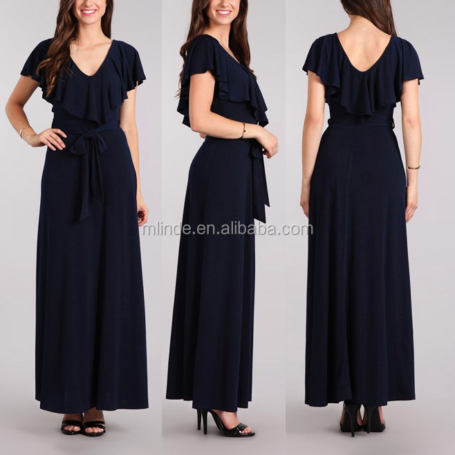 Latest Gown Designs Supplier long maxi dress V Neck Navy Short Flutter Sleeve Maxi Party Dress Lady
